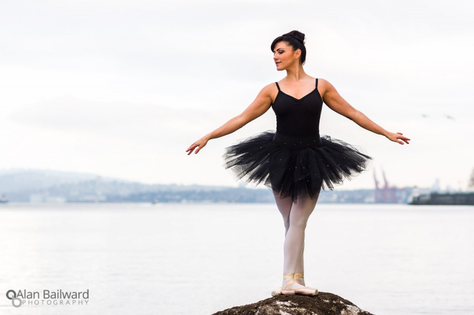 Ballerina in the City on the Seawall of Stanley Park, Vancouver