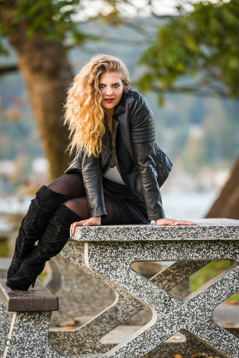 Brittnie Rae actress headshot photography sitting on park bench