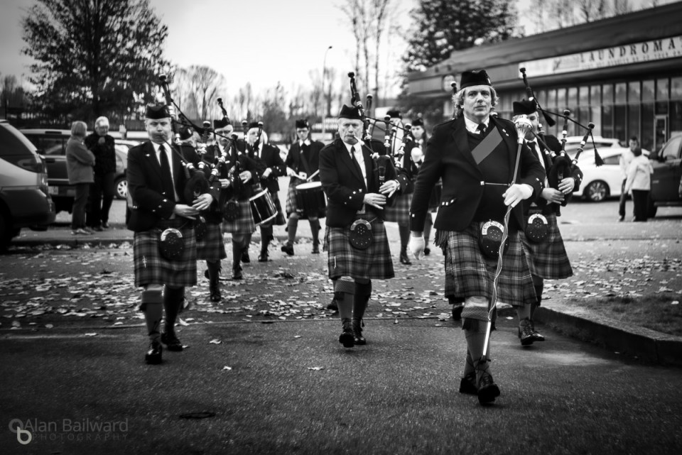Pipers at the Mission Legion Building