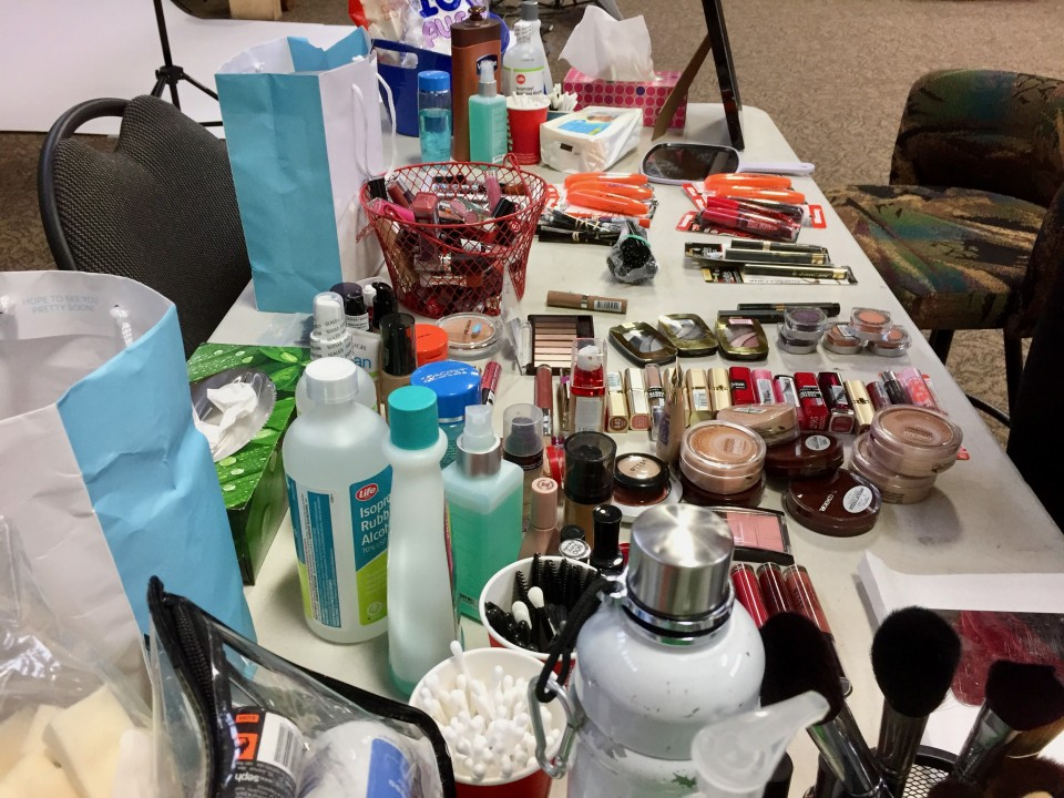 Table full of makeup